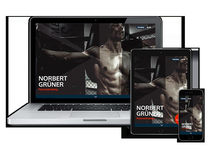 Norbert Gruener Fitnesstrainer Website Referenz